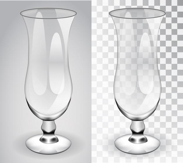 Copa de cóctel objeto aislado de vidrio transparente sobre un fondo transparente y gris.