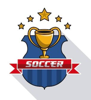 Copa del mundo de fútbol con emblema de estrellas