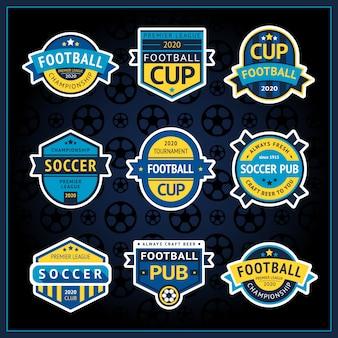 Copa de fútbol establece insignias, etiquetas de pub de fútbol, ilustración