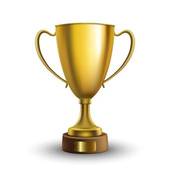 Copa del ganador aislada. trofeo de oro sobre fondo blanco. ilustracion vectorial