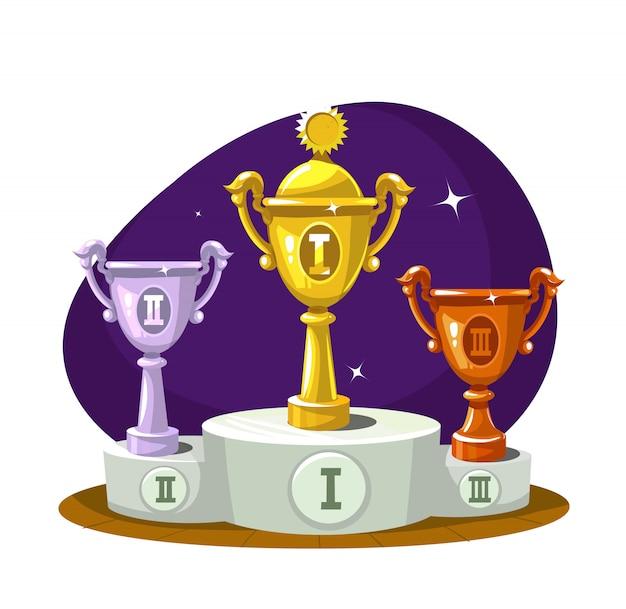 Copa de ganadores en el podio
