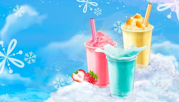 Copa para llevar de verano con hielo raspado en sabores de mango, fresa y refresco con fondo azul helado con copos de nieve