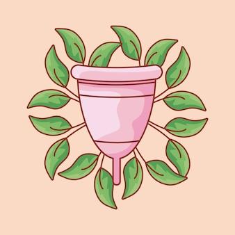 Copa menstrual femenina con hojas naturales