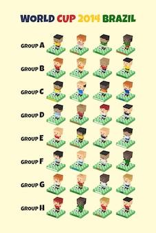 Copa del mundo isométrica 2014 equipos de fútbol.