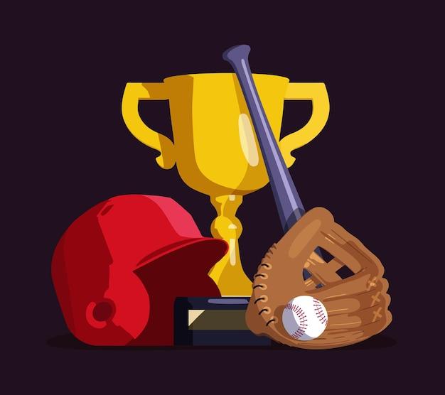 Copa de oro, bate, guante de béisbol con pelota y casco