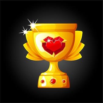 Copa de oro con corazón de piedras preciosas para el ganador. ilustración de una copa con un diamante precioso.
