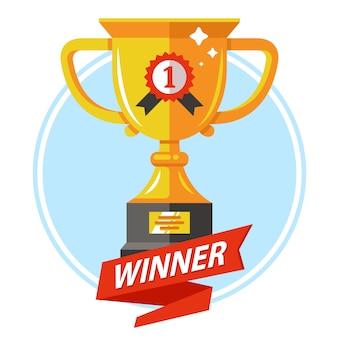 Copa de oro para el ganador con una cinta roja. ganar la competición. ilustración plana