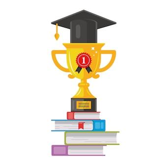 La copa de oro ganadora con un sombrero está en los libros. recompensa honesta ilustración de vector plano de clase de graduación