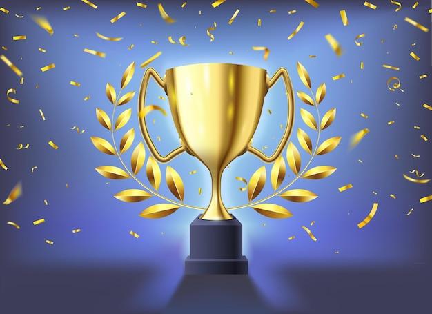 Copa de oro realista. celebración del trofeo de los ganadores con confeti volador, copa de oro brillante y premio deportivo