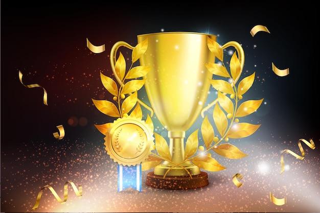 Copa de oro realista con confeti y una ilustración de palma dorada