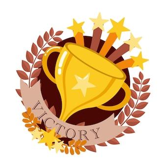 Copa de oro trofeo ganador con cinta roja aislada en gris