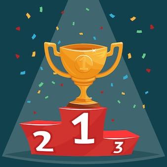 Copa de premio trofeo de oro en la ilustración del podio
