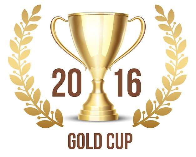 Copa de trofeo 2016 con corona de laurel.