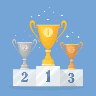Copa de trofeo sobre pedestal. copa de oro, plata, bronce en el fondo. premios al ganador, campeón. concepto de victoria, premio, campeonato, liderazgo, logro.