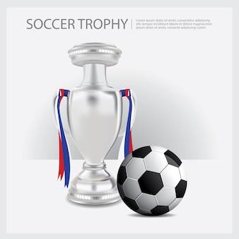 Copa de trofeos de fútbol y premios ilustración