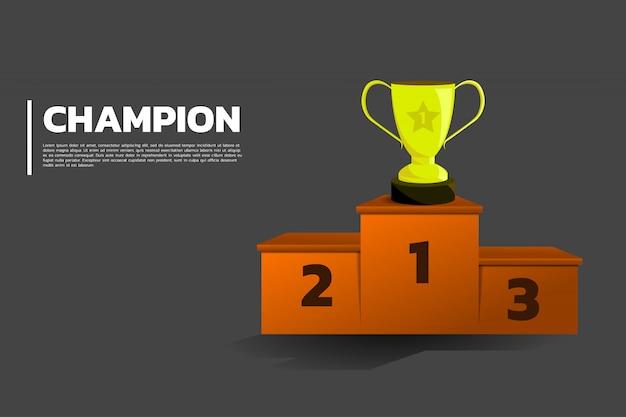 Copa de trofeos de oro en el podio.