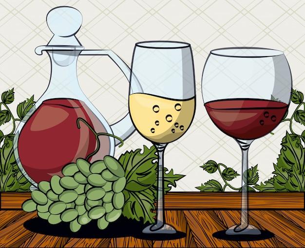 Copa de vino bebida con uvas frutas ilustración vectorial diseño