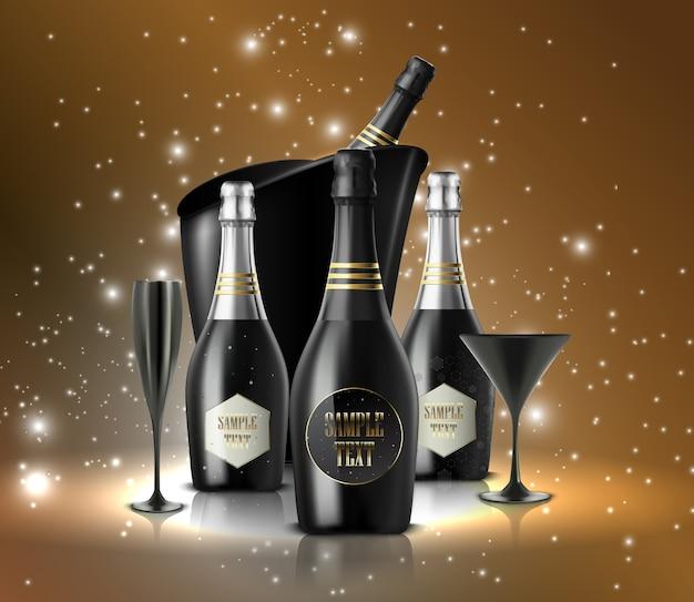 Copa de vino con una botella de champán en una cubeta o