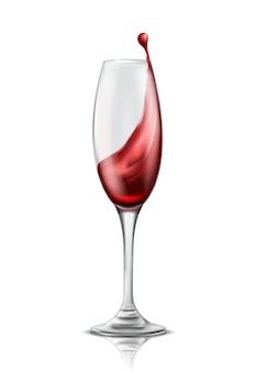 Una copa de vino con chorrito de vino tinto, ilustración realista 3d