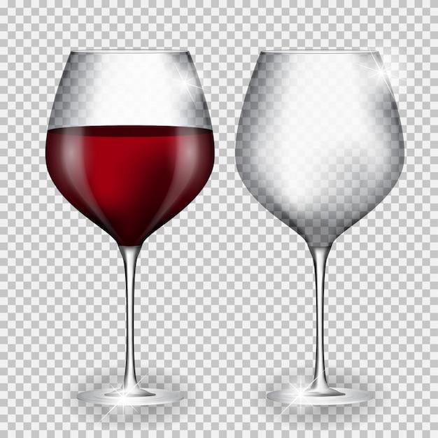 Copa de vino llena y vacía sobre fondo transparente