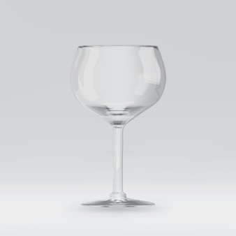 Copa de vino procesada 3d transparente vacía