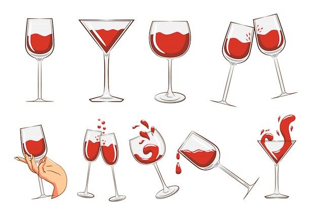 Copa de vino set clipart