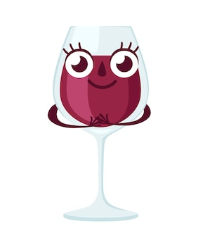 Copa de vino tinto, carácter. mascota de alcohol. vidrio transparente. ilustración sobre fondo blanco.