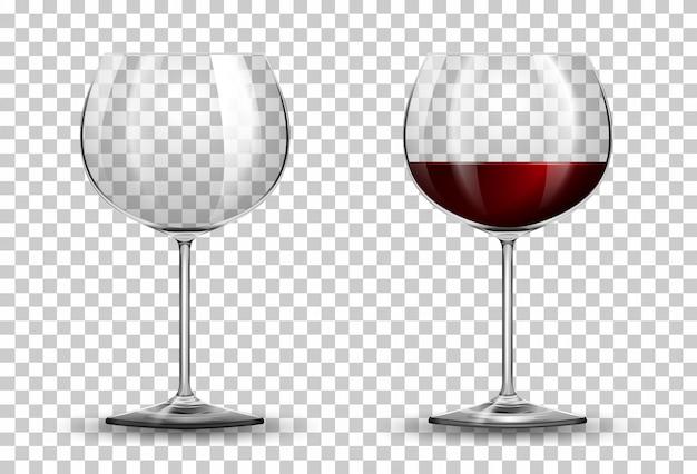 Copa de vino tinto sobre fondo transparente
