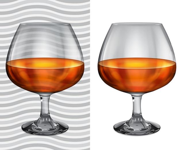 Copas de brandy realistas transparentes y opacas con coñac