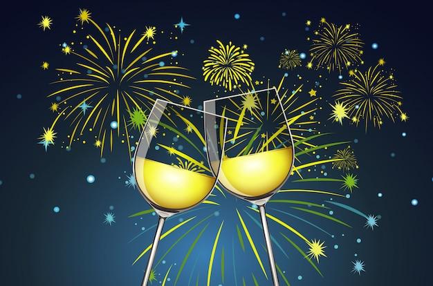 Copas de champagne y fuegos artificiales de fondo