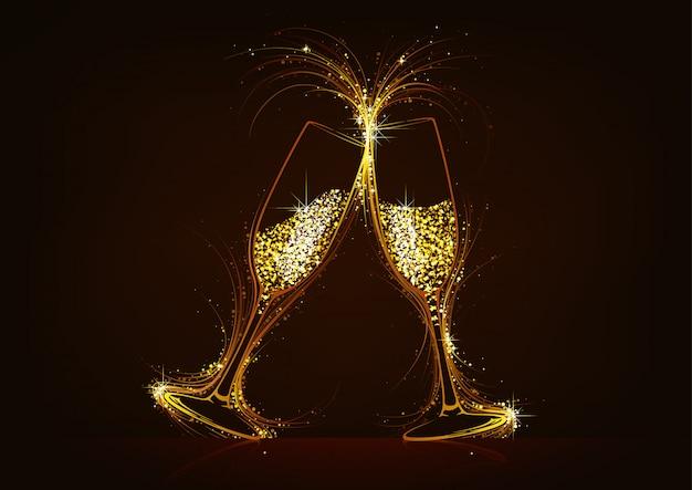 Copas de champán espumosos con bebida brillante