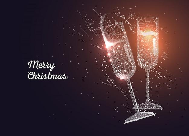 Copas de champán. feliz navidad, tarjeta de felicitación