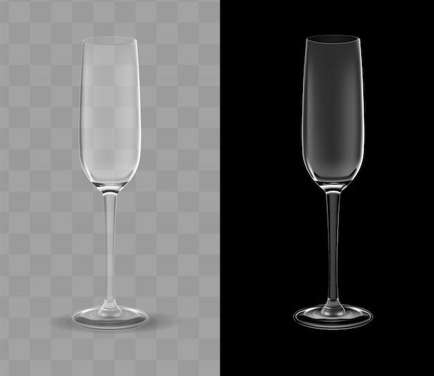 Copas de champán realistas transparentes