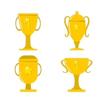 Copas de oro para ganadores. premio, trofeo por el campeonato.