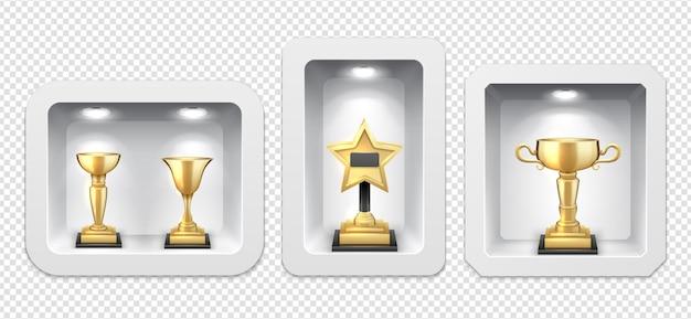 Copas de oro. stand de premios, cajas de luz. gramo