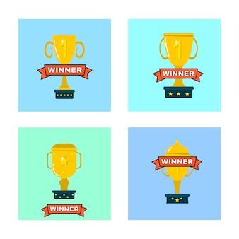 Copas de oro, trofeos para ganadores. campeonato de premios de oro.