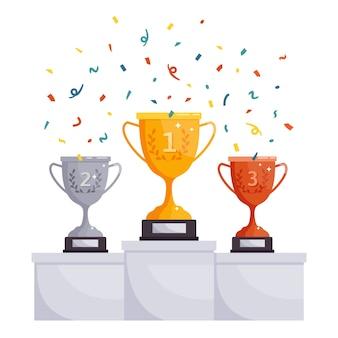 Copas de podio de ganadores.