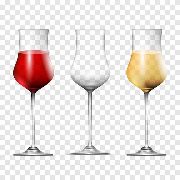 Copas transparentes de vino, establecer estilo realista 3d