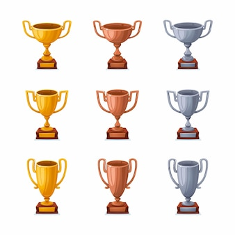 Copas de trofeo de oro, plata y bronce