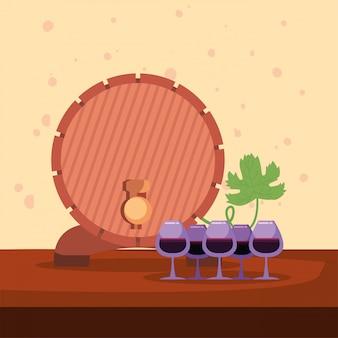 Copas de vino y barril