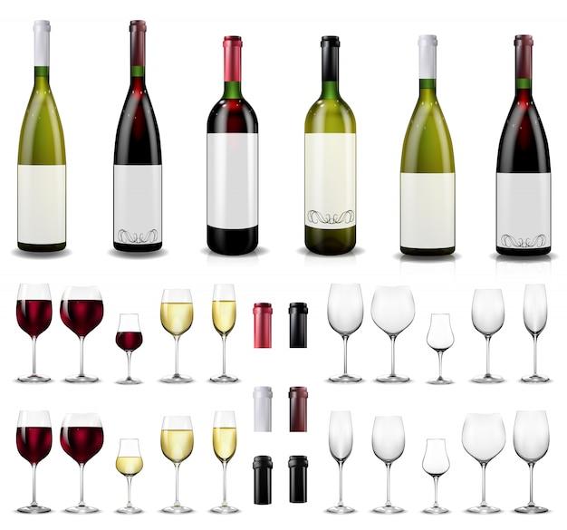Copas de vino llenas y vacías. botellas de vino tinto y blanco.