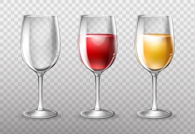 Copas de vino, vacías y llenas de vino tinto.