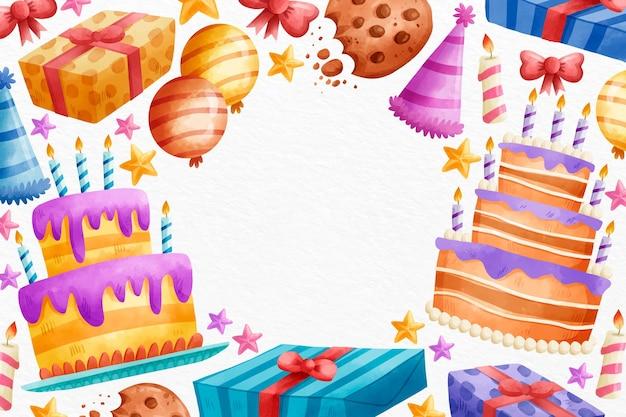 Copia espacio acuarela dulce feliz cumpleaños
