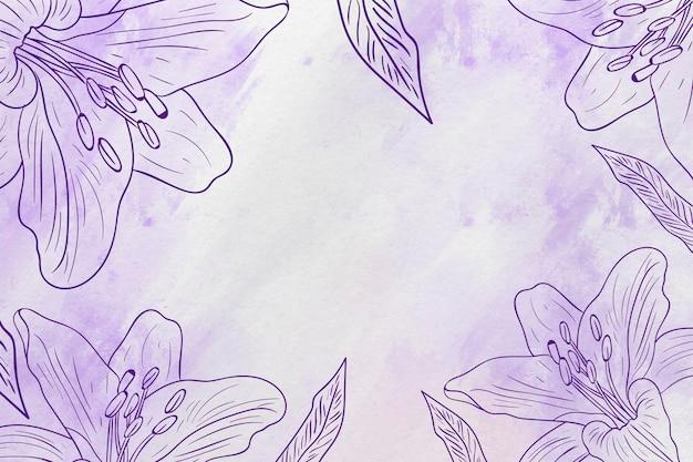 Copia espacio dibujado a mano fondo de flores en colores pastel