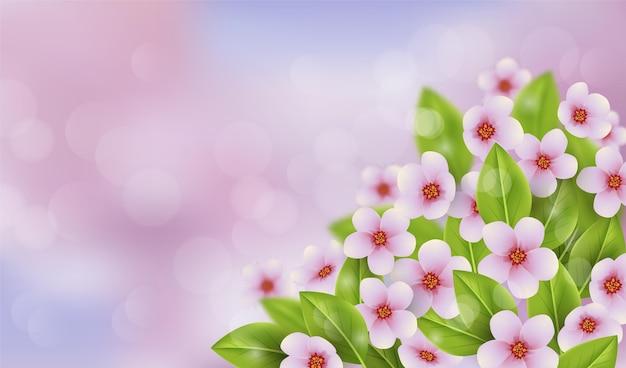 Copia espacio fondo floral de primavera