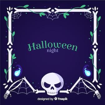 Copia espacio halloween huesos marco