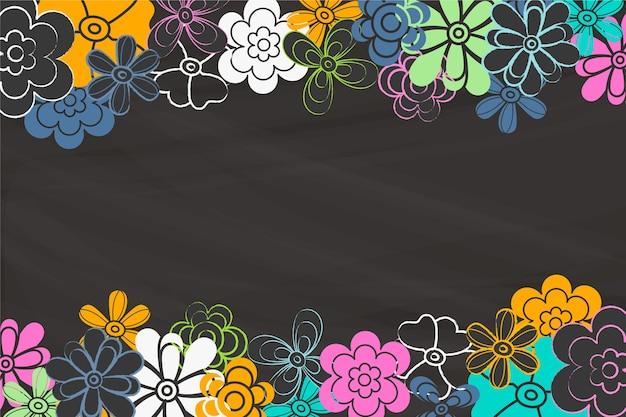 Copia espacio pizarra con flores