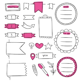 Copia espacio plantilla de diario de bala rosa