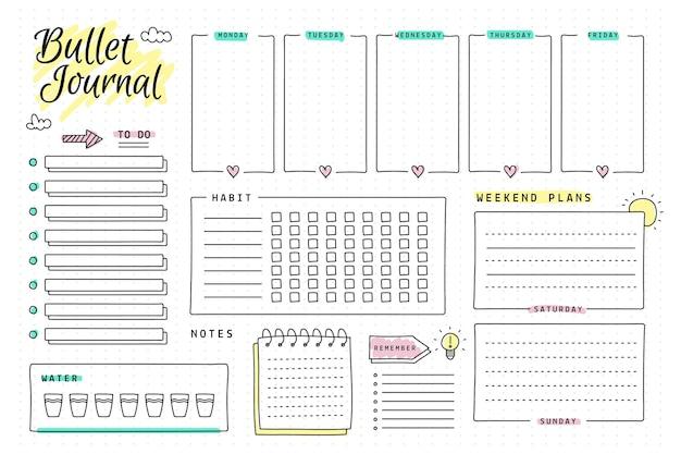 Copia espacio plantilla de planificador de diario de viñetas
