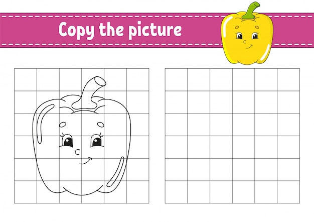 Copia la foto. páginas de libros para colorear para niños.